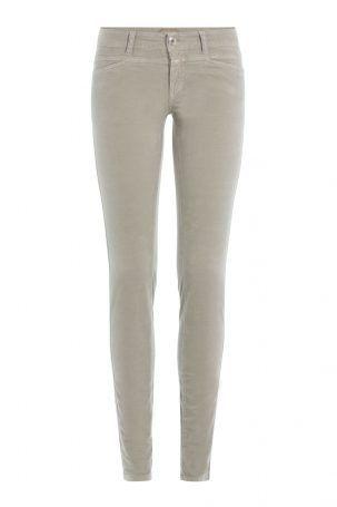Closed Closed Skinny Jeans Pedal Star aus Samt – Grau