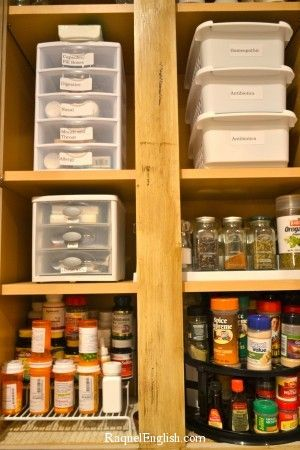Organization for the medicine cabinet. I need to do this in my house!: