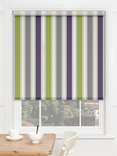 Choices Albany Stripe Grape roller blind bold purple and green