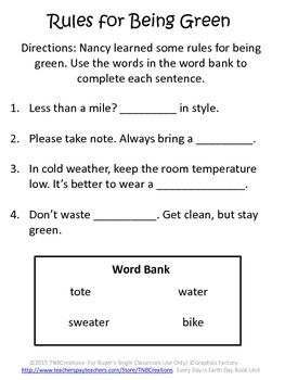 "Earth Day: Learn about Earth Day with this fun guided reading packet!  This product goes along with the book ""Fancy Nancy: Every Day is Earth Day"" by Jane O'Connor. In this product you will receive printable worksheets that include a cover page, guided reading questions, fill in the blanks, vocabulary, coloring activities, and writing activities. These printable worksheets can be made into a fun booklet!"