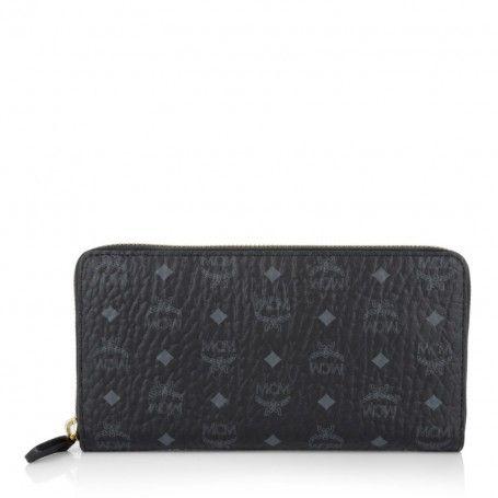 MCM Kleinleder – Visetos Zip Around Large Wallet Black – in schwarz – Kleinleder für Damen