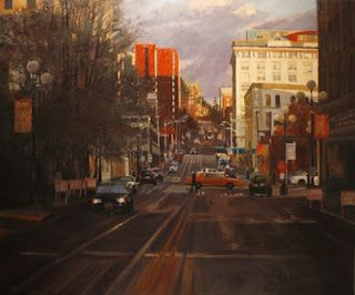 Robin Weiss / Seattle City Street / oil on canvas