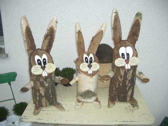 Baumstamm Osterhasen Basteln Fruhling Ostern Ostern Basteln Holz Basteln Fruhling