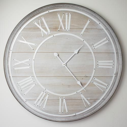 Hemsby Whitewashed Wooden Wall Clock