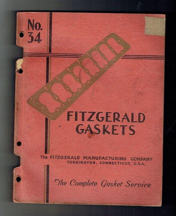 1930's FITZGERALD GASKETS CATALOG NO. 34 TORRINGTON CONNECTICUT!
