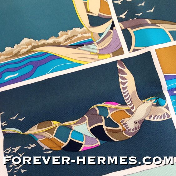 """Already dreaming of your next beach vacation? In store now http://forever-hermes.com #foreverhermes this Hermes Paris rare silk scarf titled Soie Libre created by talented Virginie Jamin in French Soie Libre is translated to Silk that is free (freedom) however the same sounds can be used for """"Be Free"""" as the stunning design takes us #diving under the #ocean surrounded by cute #tropical #fish then #sailing or #horse #riding the #hermescarre brought to you by the cute seagull! #Hermes #Dapper"""