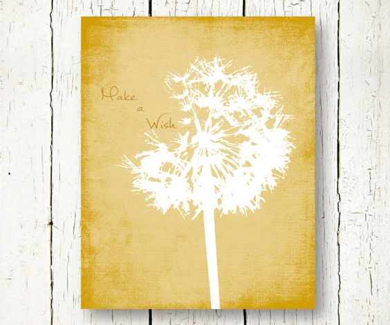Mustard Yellow Kitchen Decor: Mustard Yellow Dandelion Printable Make A Wish Kids Room