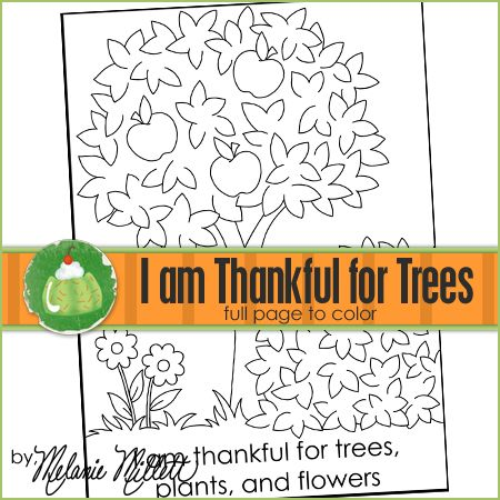 Church coloring pages i am thankful for trees plants for Coloring pages trees plants and flowers