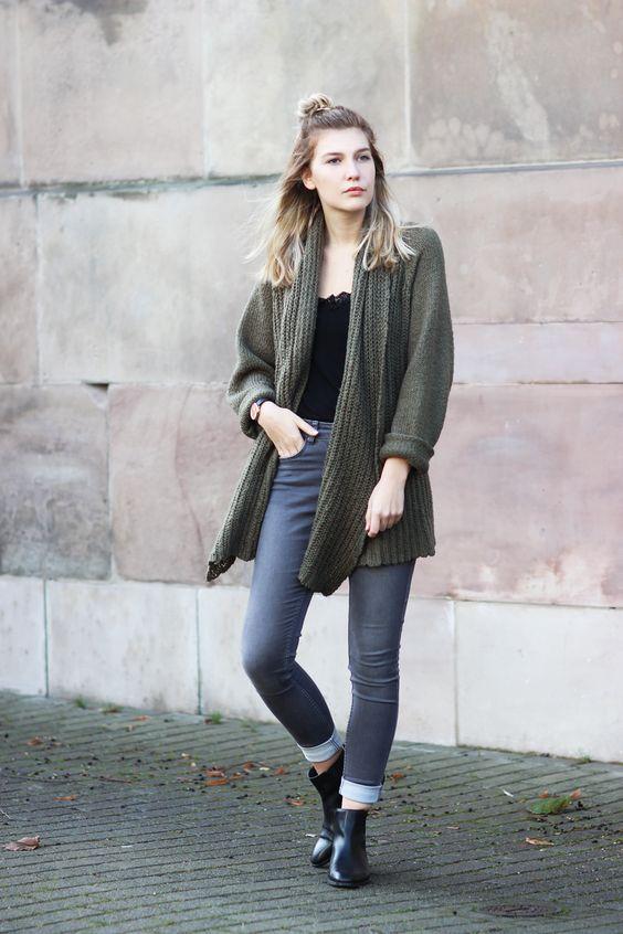 Outfit: Grüner Cardigan und Chelsea Boots | Mein Lottaleben