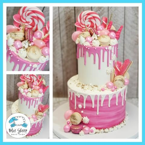 Incredible Pink And White Buttercream Drip Cake With Goodies With Images Birthday Cards Printable Riciscafe Filternl