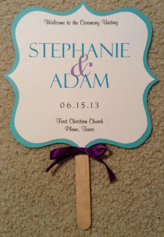 purple tiffany blue wedding | Two Sided Wedding Fan Program Tiffany Blue by invitationsbydannye