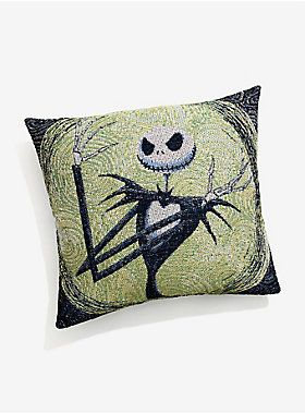 "Curl up with the Pumpkin King while you count down the days until Halloween. This throw pillow is the perfect addition to your ghoulishly chic decorations. <div><br></div><div>And there's a matching tapestry. <br><div><ul><li style=""LIST-STYLE-POSITION: outside !important; LIST-STYLE-TYPE: disc !important"">20"" x 20""</li><li style=""LIST-STYLE-POSITION: outside !important; LIST-STYLE-TYPE: disc !important"">100% polyester</li><li style=""LIST-STYLE-POSITION: outside !important; LIST-ST..."