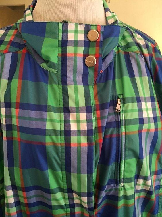 New Ralph Lauren Active Blue Plaid Windbreaker Golf Jacket Coat Women's 3X Plus | eBay #ralphlauren #active #plussize #golf #windbreaker #jacket #walking #fall