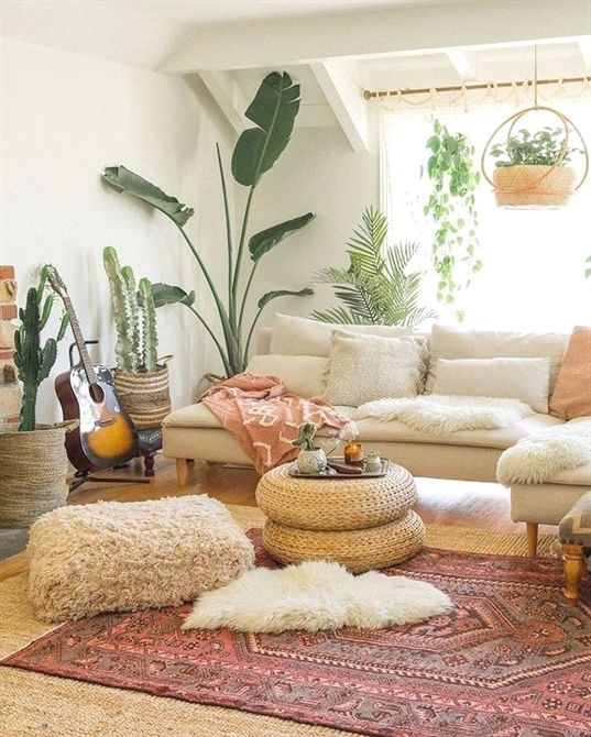 Living Room Interior Design Home Decor Bohemian Style Modern Indoor Plants Neutral Eclectic Living Room Rooms Home Decor Living Room Style