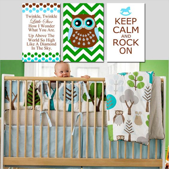 Modern Nursery Trio - Set of Three 13x19 Prints - Twinkle Twinkle Little Star, Chevron Owl, Keep Calm and Rock On - Choose Your Colors