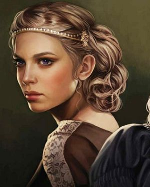 Princess Elaena Targaryen was the fifth and youngest child of Aegon III and Daenaera. Locked away along with her two sisters. Was married for three times (to Ossifer Plum, Ronnel Penrose and Michael Manwoody) and had a total of seven children, five by two of her husbands and two born out of wedlock (fathered by her cousin and lover Alyn Velaryon).