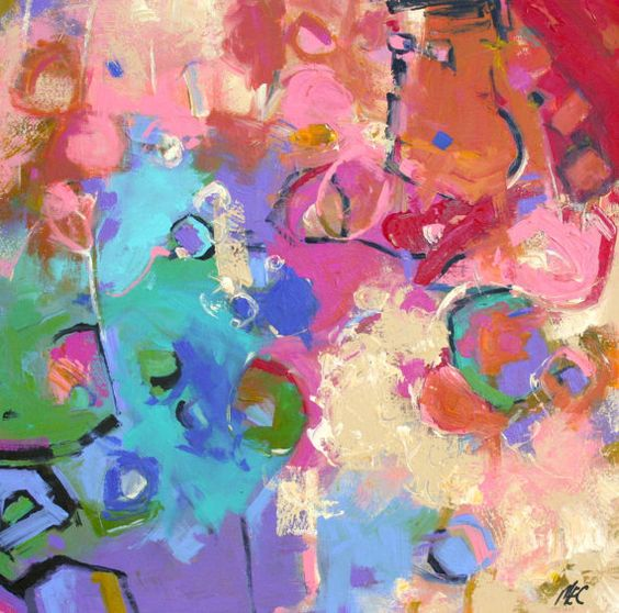 """ABSTRACT ORIGNAL PAINTING """"Elation"""" Modern Expressionism on a 24"""" x 24"""" x 1.5"""" wrap canvas by Elizabeth Chapman"""