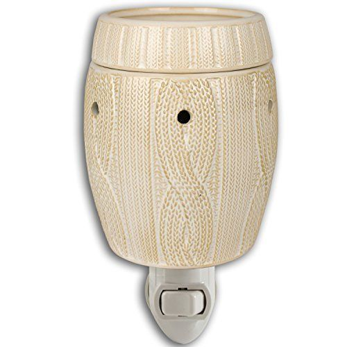 Ivory Cableknit Pattern Ceramic Stoneware Plug-in Outlet Wax and Oil Warmer