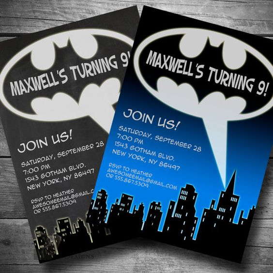 Batman Birthday Invitation, Chalkboard Super Hero Birthday Party ...