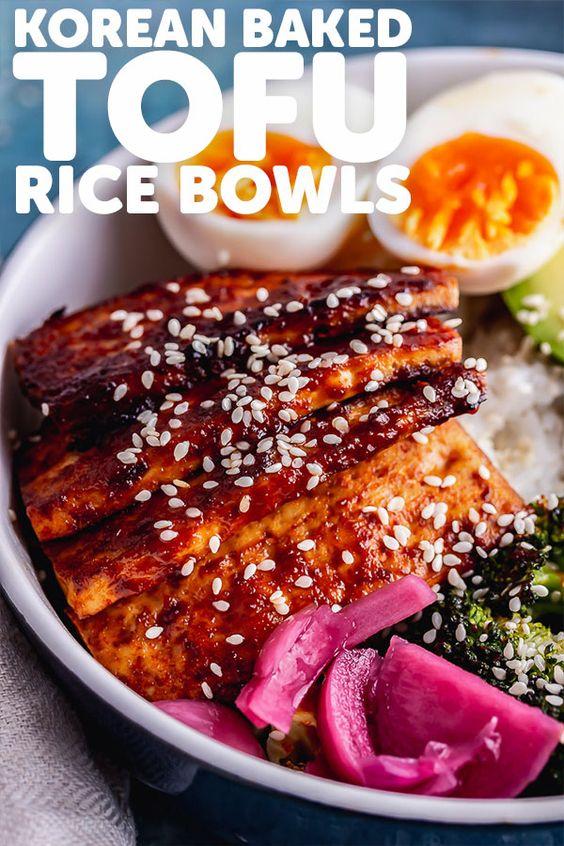 Korean Baked Tofu Rice Bowls