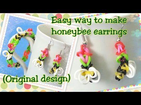 Loom bands tutorial rainbow loom honeybee earrings/charms彩虹橡筋編織教學:蜜蜂耳環