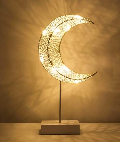 1 15 Amazon Lewondr Table Lamp Battery Powered Moon Shape Bedside Li Https Www Amazon Com Dp B07v7tjrvm Ref Cm Sw R P Bedside Lighting Lamp Decor Lamp