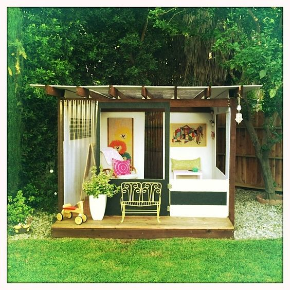 Outdoor playhouses outdoor and play houses on pinterest for Garden playhouse plans