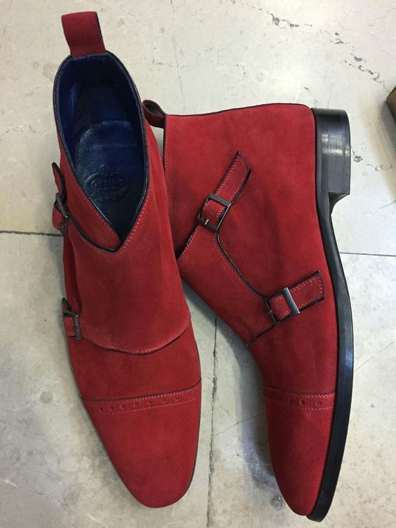 Monk Suede Men Handmade BootMen BootsDouble Red Strap tQCrshdx