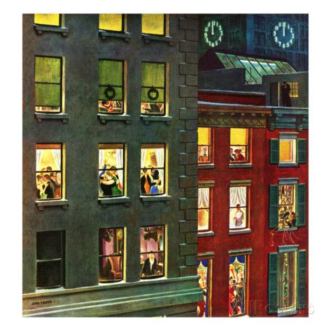"""Apartment Dwellers on New Year's Eve,"" January 3, 1948 Giclee Print by John Falter at AllPosters.com"