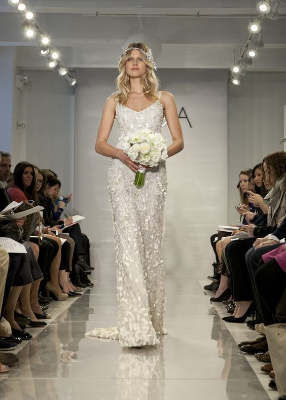 """THEIA Spring 2015 """"Genevieve"""" Hand embroidered pearl encrusted sea goddess gown"""