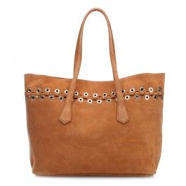 wardow.com - #bag #rock #metallic #nieten #trend #SoniaRykiel L´oeillet Shopper samtiges Kalbsleder tan
