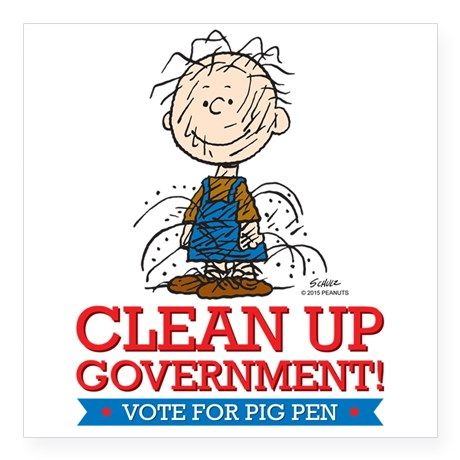 "PigPen Clean Up Square Sticker 3"" x 3"" on CafePress.com"