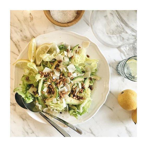Cos lettuce, Avocado, Parmesan shavings & toasted pine nut #recipes