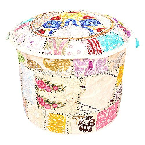 18x18x13 Stylo Culture Bohemian Round Pouf Ottoman Cover Indian Patchwork Embroidered Pouffe Ottoman Cover White Cotton Floral Traditional Furniture Footstool Seat Foot Rest Puff Cover