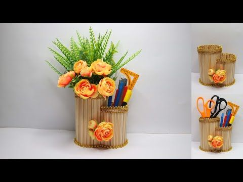 Ide Kreatif Tempat Pensil Dan Vas Bunga Dari Tusuk Sate Youtube