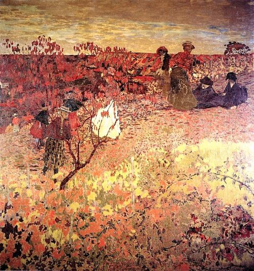 Promenade in the Vineyard - 1900. Edouard Vuillard This painting , portrays a bourgeois family's excursion to hillsides of Villeneuve-sur-Yonne,