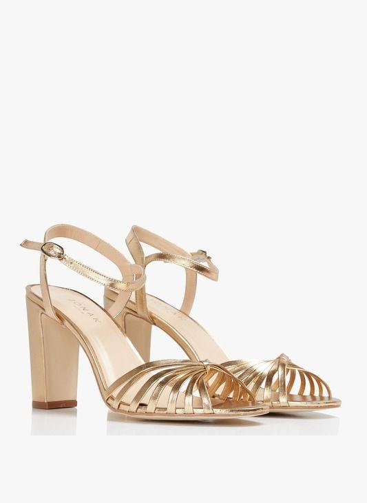 Sandales à talon et bride , en cuir métallisé doré JONAK