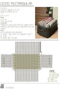El blog de Gallimelmas e Imaginancias: Craft Project: Cestas rectangulares de trapillo