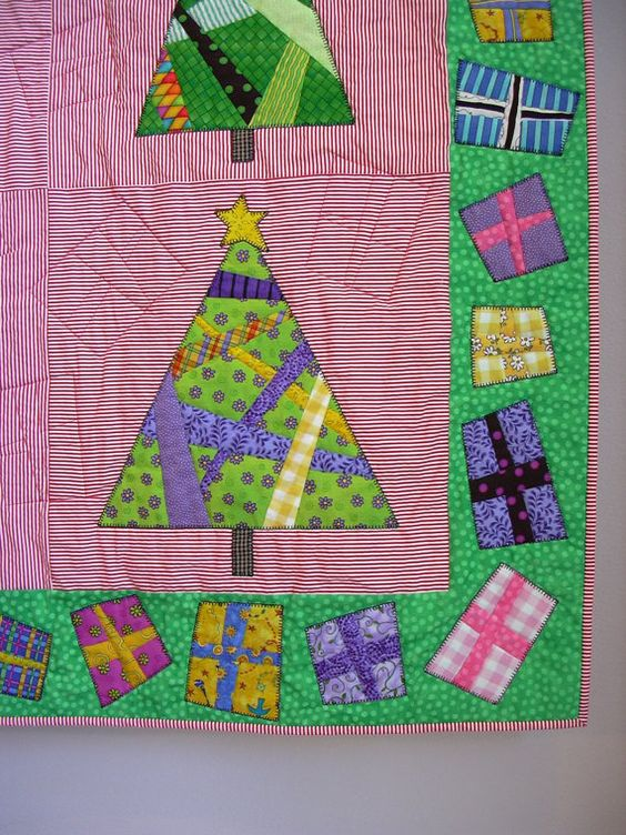 And Presents 'Round the Tree wall quilt by tinacurran on Etsy