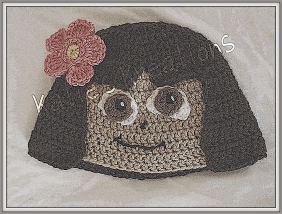 Ravelry: Dora The Explorer inspired Hat pattern by Katie McKinley: Beanie Project, Yarn Hats, Disney Hats, Hat Patterns, Baby Hats, Cartoon Hats, Crochet Hats Headbands, Crochet Patterns, Hats Characters