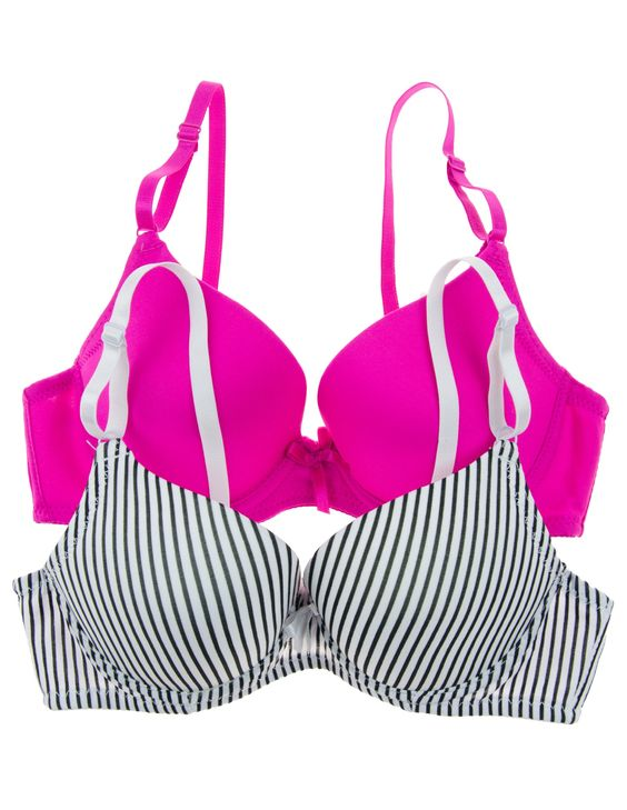 Junior's 2 Pack Push Up Bras With Adjustable Straps