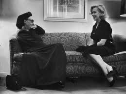This has to be my favourite image of Edith Sitwell ,she is in conversation with Marilyn Monroe. Image  by George Silk/Time Life Pictures/Getty Images  Marilyn Monroe and Edith Sitwell, London, 1953  http://www.nybooks.com/articles/archives/2011/mar/10/marilyn/?pagination=false