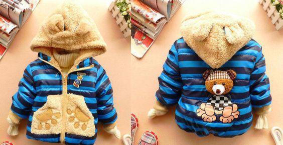 Baby Boys Child Winter Hoodies 3D Bear Coat Blue Jacket Outerwear Size 1.5T-4.5T