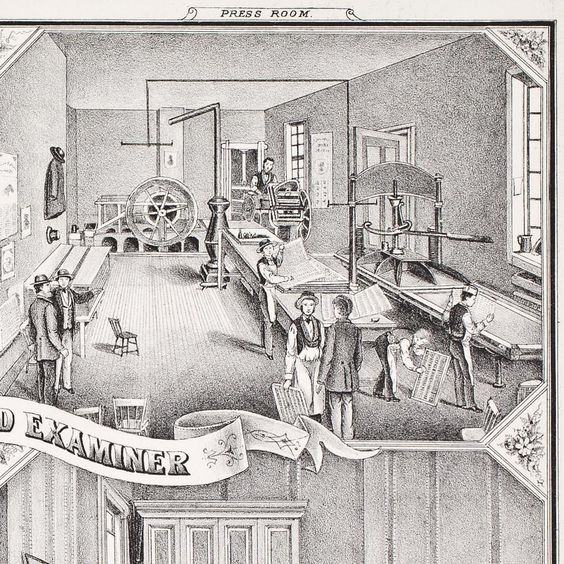 "This 1870s lithograph from an unidentified gazetteer for the state of Pennsylvania shows the interior of the printing office of ""The Review and Examiner"" newspaper, published in Washington, Pennsylvania, just south of Pittsburgh. The men in aprons and dapper hats run the presses, fold pages, and move trays of type in the tidy (and unbelievably clean) press room."