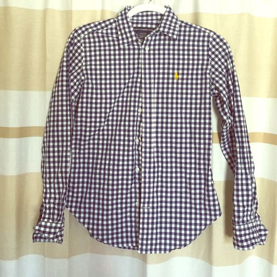 Polo button up Barely worn, just too small for me! Ralph Lauren Tops Button Down Shirts