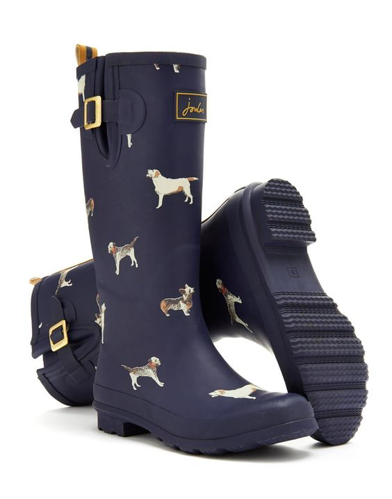 Navy Dog Wellyprint Womens Print Rain Boot Wellies | Joules US ...