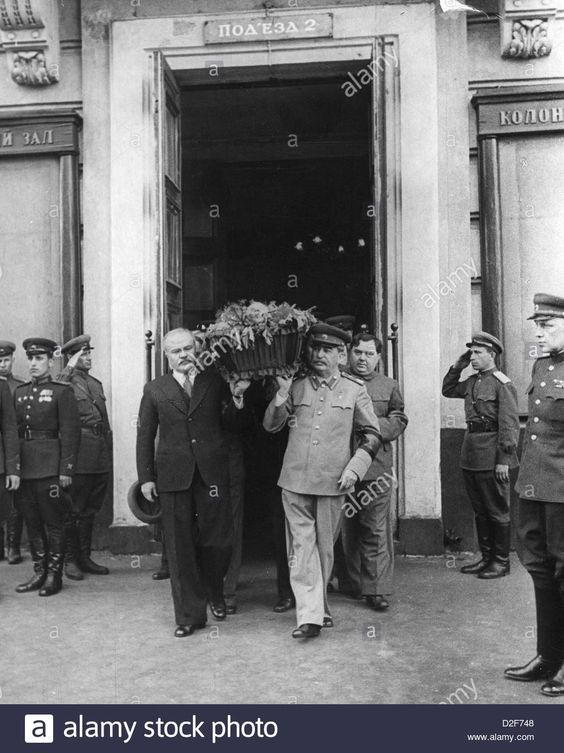 JOSEPH STALIN in uniform and Molotov as front pall bearers with Malenkov behind carry coffin of Mikhail Kalinin in June 1945