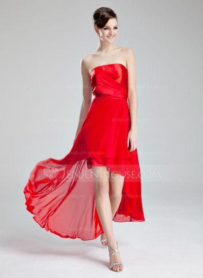 Homecoming Dresses - $118.99 - A-Line/Princess Strapless Asymmetrical Chiffon Charmeuse Homecoming Dress With Ruffle (022019603) http://jenjenhouse.com/A-Line-Princess-Strapless-Asymmetrical-Chiffon-Charmeuse-Homecoming-Dress-With-Ruffle-022019603-g19603