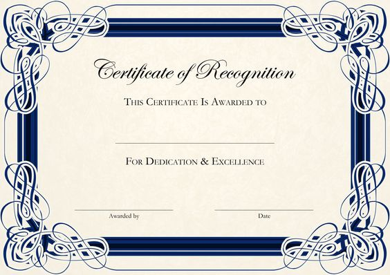 Sports Cetificate  Certificate Of Recognition A Thumbnail