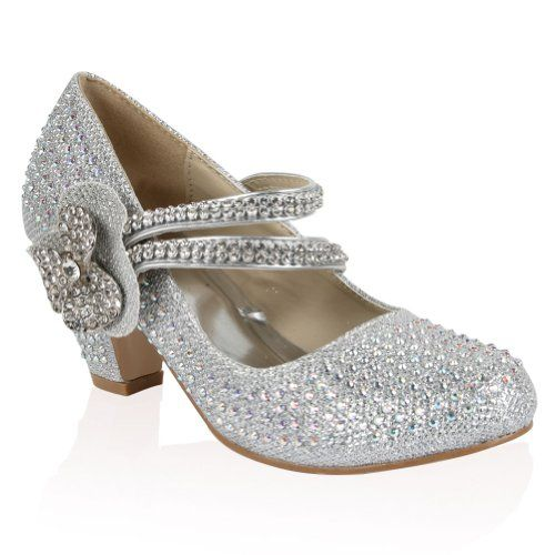 21B Silver Girls Diamante Glitter Kids Party Wedding Mary Jane Low
